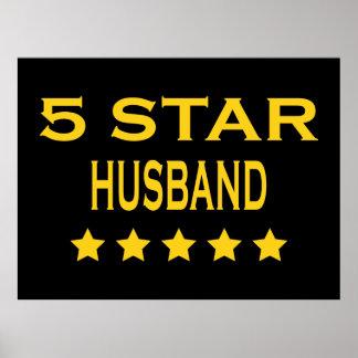 Husbands Birthdays Valentines : Five Star Husband Poster