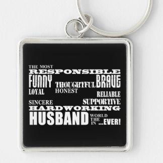 Husbands Wedding Anniversaries Birthdays Qualities Silver-Colored Square Keychain