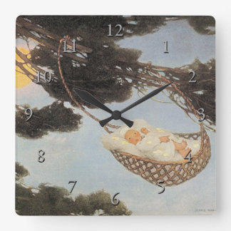 Hush-a-Bye, Baby Nursery Rhyme Square Wall Clock