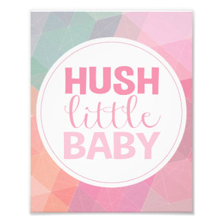 Hush Little Baby Nursery Art Baby Girl Quote Kids Photo Print