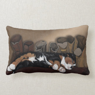 Hush puppy, Cute Bernese Mountain dog pup asleep Lumbar Pillow