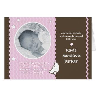 Hush Said the Moon Birth Announcement - Pink Greeting Card