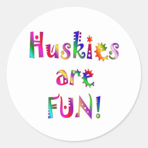 Huskies are Fun Classic Round Sticker