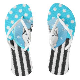 Huskies blue pattern flip flops