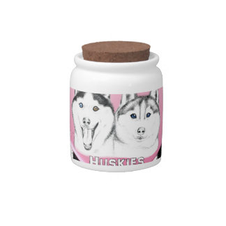 Huskies pink pattern candy dishes