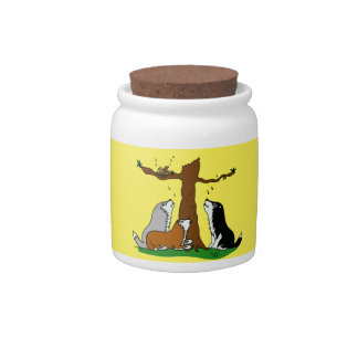 Huskies singing to the birds candy jar