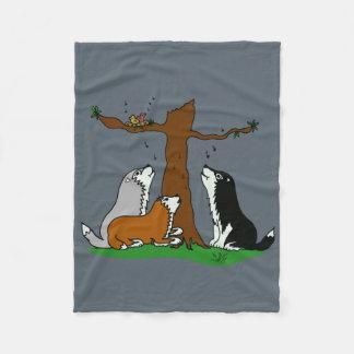 Huskies singing to the birds fleece blanket