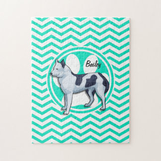 Husky; Aqua Green Chevron Puzzle