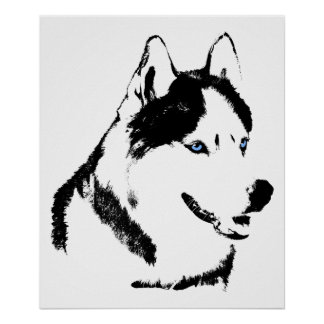 Husky Art Print Sled Dog Art Poster Husky Gifts
