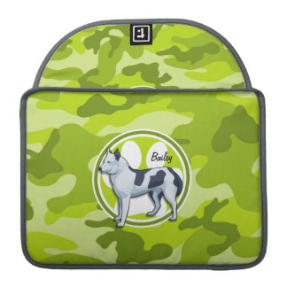 Husky; bright green camo, camouflage MacBook pro sleeve