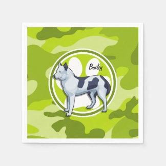 Husky; bright green camo, camouflage paper napkins