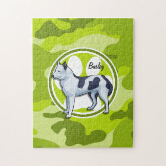 Husky; bright green camo, camouflage puzzles