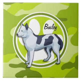 Husky; bright green camo, camouflage tiles