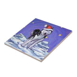 Husky Christmas Ceramic Tile