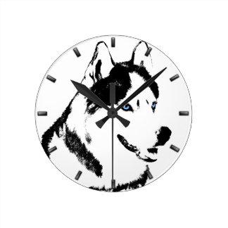 Husky Clock Gifts Decor Sled Dog Wall Clock
