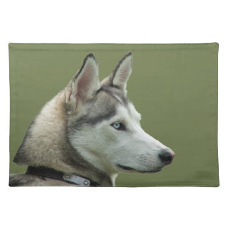 Husky dog beautiful photo portrait, gift cloth placemat