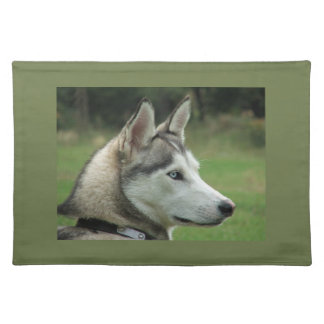 Husky dog beautiful photo portrait, gift placemat