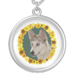 Husky Dog Circle of Flowers Round Pendant Necklace