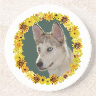 Husky Dog Circle of Flowers Sandstone Coaster
