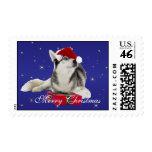 Husky dog in santa hat custom Christmas postage