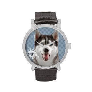 Husky Dog Monogram Photograph Watch