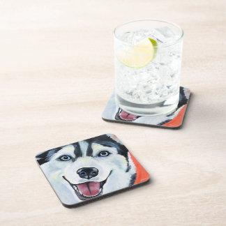 Husky Dog Ruff Pet Art Coasters