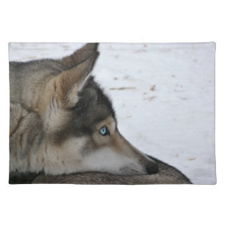 Husky dog with blue eyes placemat