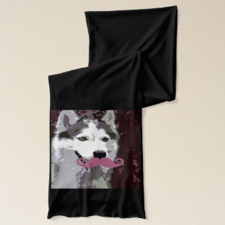 Husky Dog with Cool Mustache Scarf