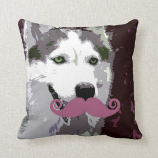 Husky Dog with Funny Mustache Throw Pillow