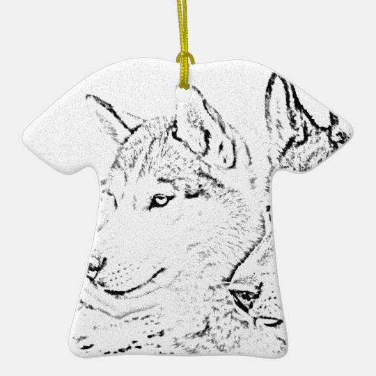 Husky dogs ceramic ornament