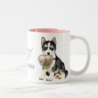 Husky Heart Mom Two-Tone Coffee Mug
