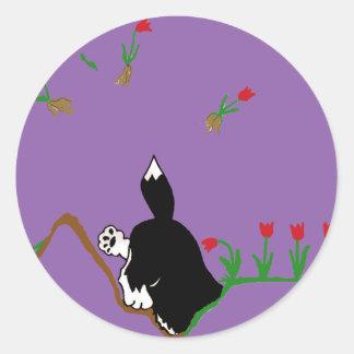 Husky in Flowerbed Classic Round Sticker