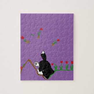 Husky in Flowerbed Jigsaw Puzzle