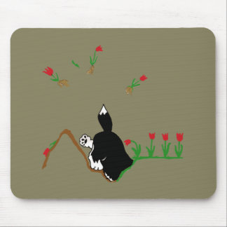 Husky in Flowerbed Mouse Pad