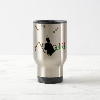Husky in Flowerbed Travel Mug