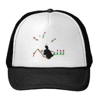 Husky in Flowerbed Trucker Hat