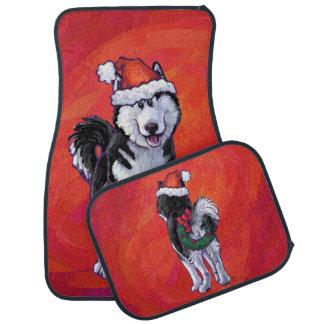 Husky in Santa Hat On Red Car Floor Mat