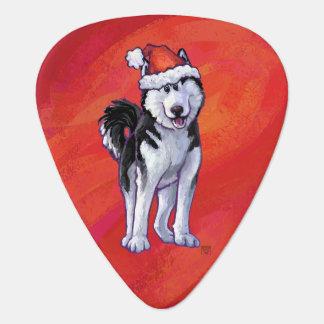 Husky in Santa Hat On Red Guitar Pick