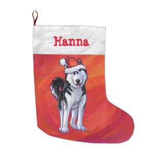 Husky in Santa Hat On Red Large Christmas Stocking