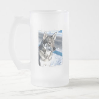 Husky in Snow Frosted Beer Mug