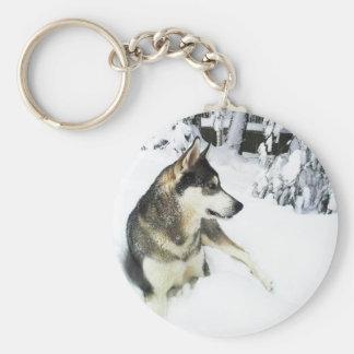 Husky in Snow - Keychain