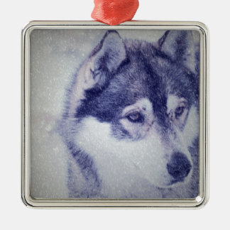 Husky in the snow metal ornament