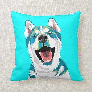 Husky Light Blue Throw Pillow