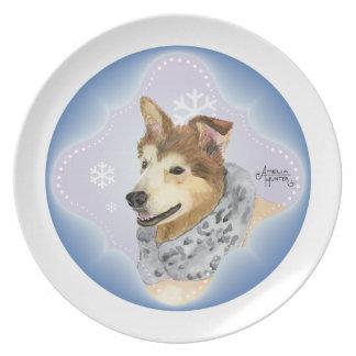 Husky Malamute Dinner Plate