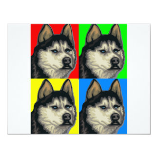Husky Malamute Goes Primary Collage Card