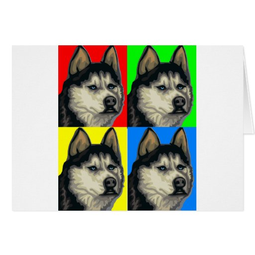 Husky Malamute Goes Primary Collage Greeting Card