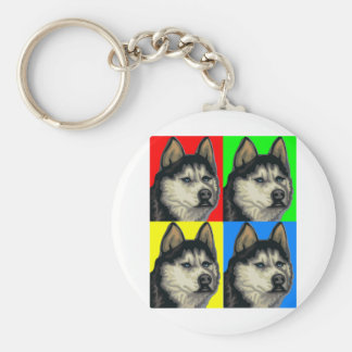Husky Malamute Goes Primary Collage Key Chains