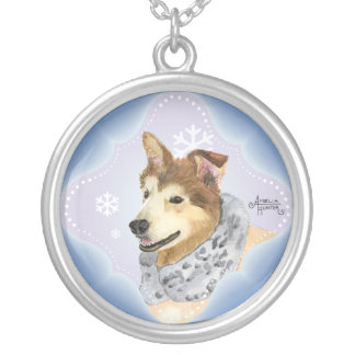 Husky Malamute Round Pendant Necklace