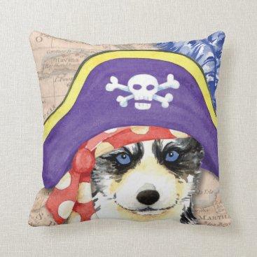 Halloween Themed Husky Pirate Throw Pillow