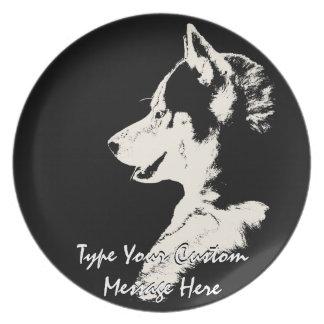 Husky Plate Sled Dog Custom Husky Malamute Decor